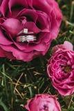 与金刚石特写镜头的美好的定婚戒指与在桃红色的一只婚礼金戒指上升了说谎在草 库存照片