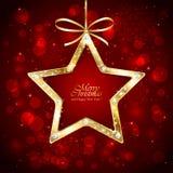 与金刚石的圣诞节星在红色背景 库存图片