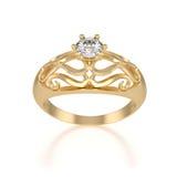 与金刚石的好的金戒指 库存照片