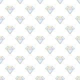 与金刚石的时尚行家无缝的样式 假钻石设计瓦片 免版税库存图片