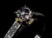 与金刚石的环形 背景黑色织品金珠宝银 免版税库存照片