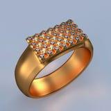 与金刚石的金戒指 免版税库存照片