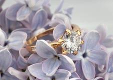 与金刚石的首饰圆环在紫罗兰色花,软的焦点 库存照片