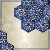 与金刚石装饰品的葡萄酒卡片在蓝色 库存例证