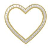 与金刚石画框的银金子心脏 向量例证