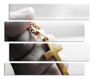 与金十字架的耶稣基督标志在手中在优质黑&白色的艺术 免版税库存图片