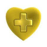与金十字架的金黄心脏 免版税库存图片