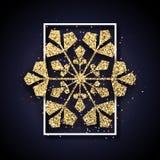 与金发光的雪花的圣诞节和新年卡片在白色f 皇族释放例证