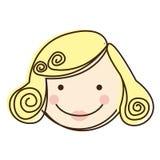 与金发的正面图五颜六色的剪影动画片妇女面孔 皇族释放例证