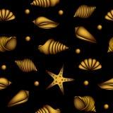 与金壳的无缝的样式 库存图片