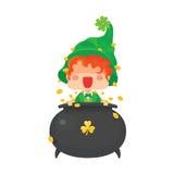 与金壶的愉快的圣帕特里克` s天妖精 免版税图库摄影