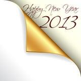 与金子卷曲的角落的2013新年度 库存照片