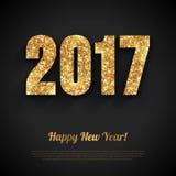 与金子发光的2017个数字的新年快乐卡片 库存图片