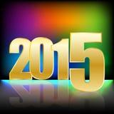 与金子数字的新年快乐2015年和明亮的彩虹blured颜色背景 免版税库存照片