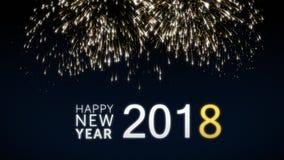 与金子的使成环的新年好2018社交明信片给在典雅的黑和蓝色背景的烟花赋予生命 循环 向量例证