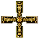 与金子的凯尔特十字架 免版税库存图片