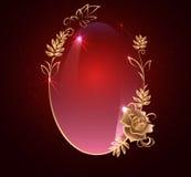与金子的卵形横幅 罗斯,在黑暗的背景的光滑的标签, 库存照片