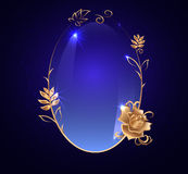 与金子的卵形横幅 罗斯,在黑暗的背景的光滑的标签, 库存例证