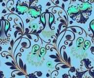 与金子的无缝的蓝色花卉样式 装饰装饰品后面 图库摄影