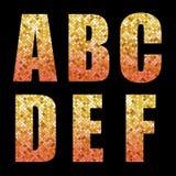与金子的美好的时髦闪烁字母表信件对红色ombre 向量例证