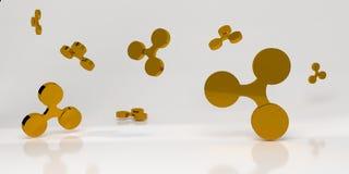 与金子的背景起波纹标志 3d翻译 库存图片