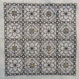 与金子聚焦的方形的Blackwork刺绣 免版税库存图片