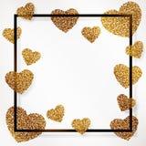 与金子般的心的海报五彩纸屑、闪闪发光,金黄闪烁和在黑框架,边界的愉快的情人节上写字 库存照片