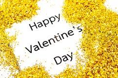 与金子闪烁的愉快的情人节文本 库存图片