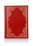 与金子颜色装饰品的老红色书在盖子 图库摄影
