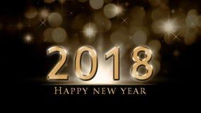 2018与金子2018年和新年快乐文本的新年背景与金黄, bokeh、党光和星 库存照片