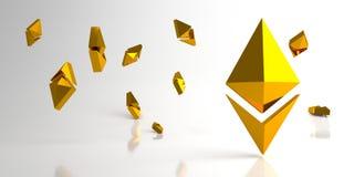 与金子ethereum标志的背景 3d翻译 免版税库存照片