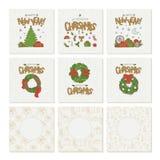 与金字法圣诞节和新年无缝的样式的传染媒介集合贺卡 假日标志和花圈 库存例证