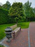 与金属元素的长木凳在公园 在背景中一棵树和高绿色树篱从灌木秋天园艺 库存照片