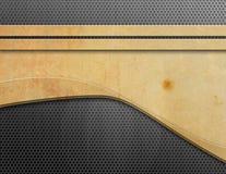 与金属网格末端木头的背景 免版税库存照片