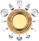 与金属舷窗的海鲜菜单 图库摄影