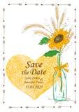 与金属螺盖玻璃瓶和向日葵的婚礼邀请 免版税库存照片