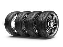 与金属轮子的轮胎。 3D图标   免版税库存图片