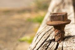 与金属钉的风景木材 免版税图库摄影