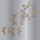 与金属齿轮的抽象techno背景。 免版税图库摄影
