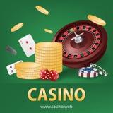 与金币,芯片,红色模子,卡片现实赌博的海报横幅的赌博娱乐场轮盘赌 赌博娱乐场维加斯时运轮盘赌 皇族释放例证