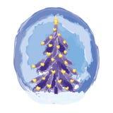与金心脏形状的圣诞节蓝色树点燃 库存照片