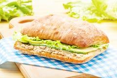 与金枪鱼、绿色、苹果和黄瓜的大ciabatta三明治 免版税库存照片