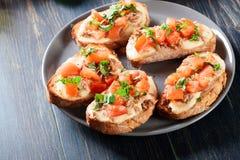与金枪鱼、mozarella乳酪和蕃茄的开胃菜bruschetta 免版税库存照片