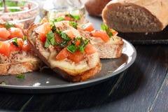 与金枪鱼、mozarella乳酪和蕃茄的开胃菜bruschetta 库存照片