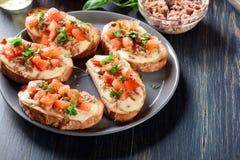 与金枪鱼、mozarella乳酪和蕃茄的开胃菜bruschetta 库存图片