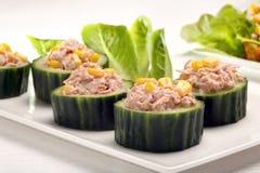 与金枪鱼和玉米的黄瓜开胃菜在白色背景 免版税库存照片