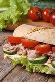 与金枪鱼和菜的三明治在成份背景  库存照片