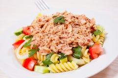 与金枪鱼和菜的意大利面制色拉 库存照片