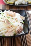 与金枪鱼大块的味道好的米细面条  库存图片