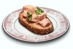 与金枪鱼的缺一不可的面包 免版税图库摄影